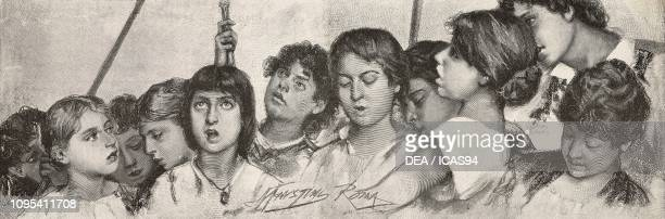 Gloria in Excelsis Deo children singing in a choir engraving by Ernesto Mancastroppa from a fresco by Modesto Faustini from L'Illustrazione Italiana...