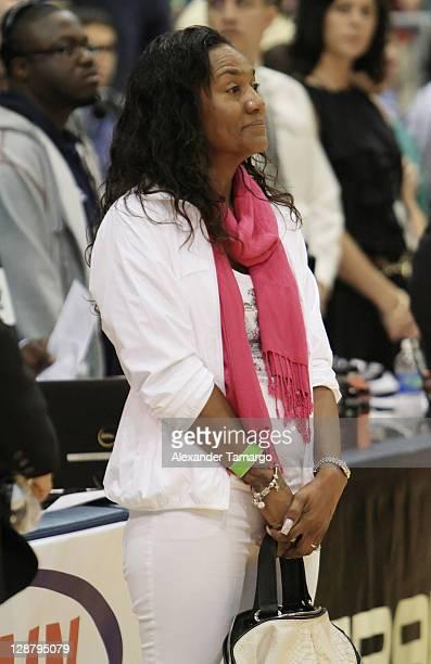 Gloria James attends South Florida AllStar Classic game at Florida International University on October 8 2011 in Miami Florida