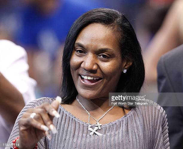 Gloria James mother of LeBron James is seen during Game 3 of the NBA Finals between the Miami Heat and the Dallas Mavericks at the American Airlines...