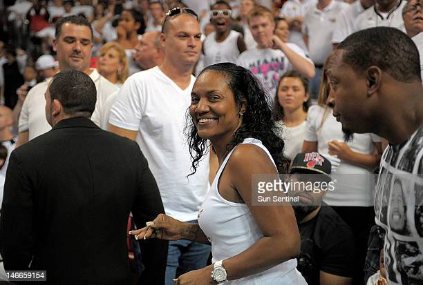 Gloria James mother of Miami Heat forward LeBron James walks to her seat during Game 5 of the NBA Finals at the AmericanAirlines Arena in Miami...