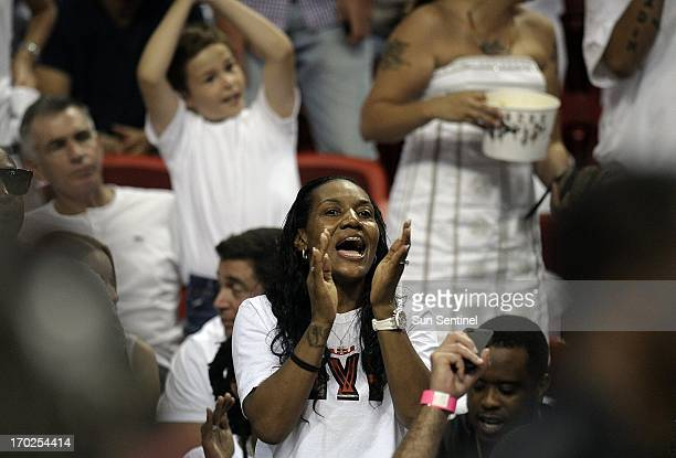 Gloria James mother of Miami Heat's LeBron James cheers for the Heat during the second quarter in Game 2 of the NBA Finals against the San Antonio...