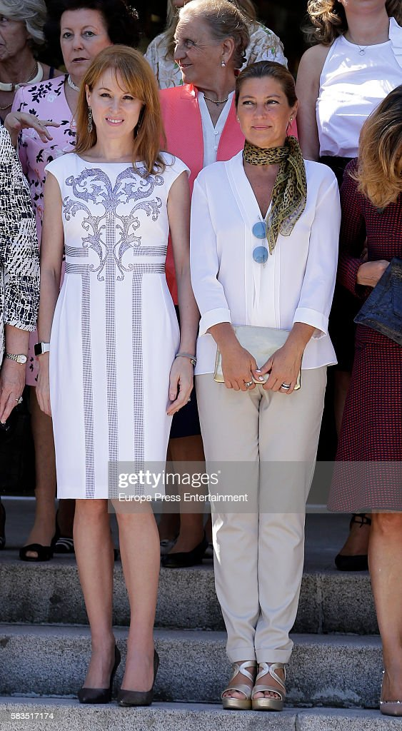 Gloria Lomana (L) and Sara Baras (R) attend FEDEPE Awards at Cecilio Rodriguez gardens on July 26, 2016 in Madrid, Spain.