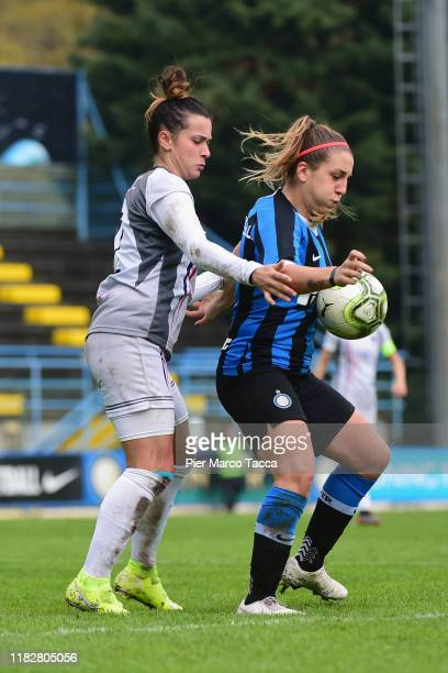 Gloria Marianelli of FC Internazionale Women competes for the ball during the Women Serie A match between FC Internazionale and Orobica at Campo...