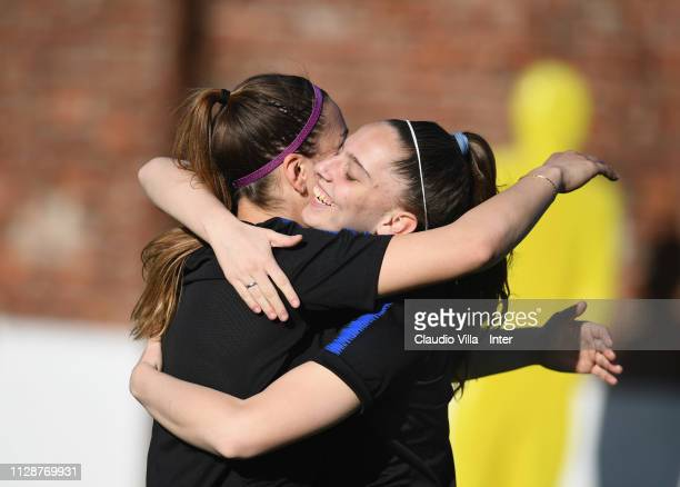 Gloria Marinelli and Silvia Pisano of FC Internazionale Women in action during a training session at Suning Youth Development Centre in memory of...