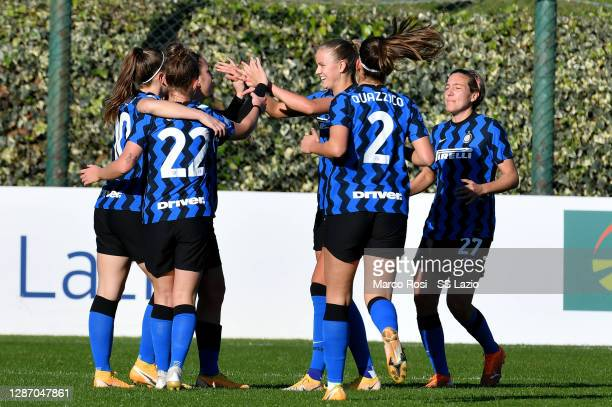 Gloria Marinelli of FC Internazinale celebrate a opening goal with his team mates during the Italian Women's Cup between SS Lazio and FC...