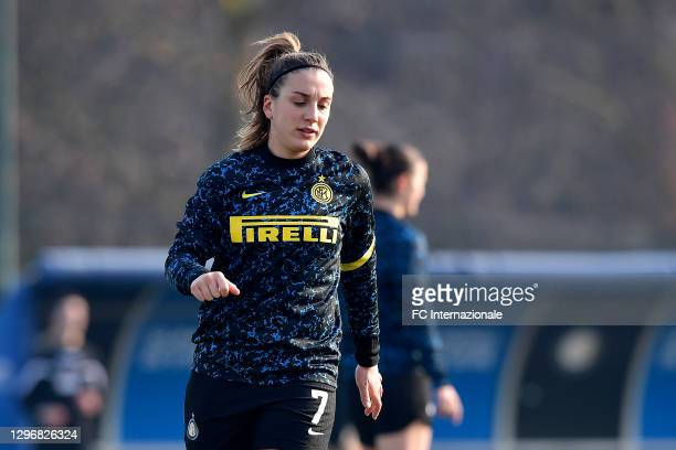 Gloria Marinelli of FC Internazionale before the Women Serie A match between FC Internazionale and Juventus at Suning Youth Development Centre in...