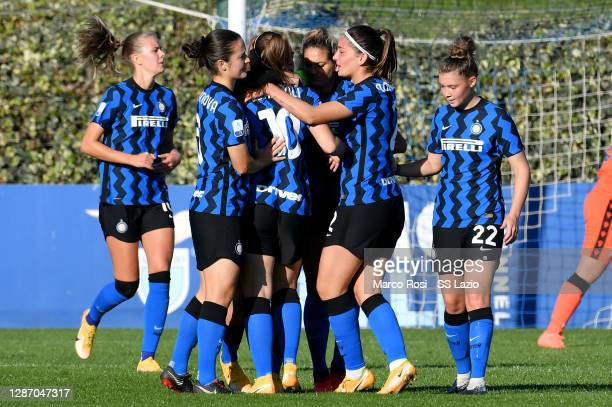 Gloria Marinelli of FC Internazionale celebrate a third goal with his team mates during the Italian Women's Cup between SS Lazio and FC...