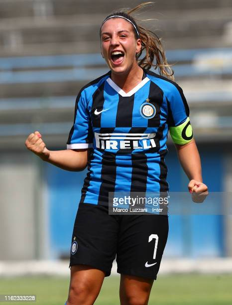 Gloria Marinelli of FC Internazionale celebrates her goal during the friendly match FC Internazionale Women and Espanyol Women on August 18 2019 in...