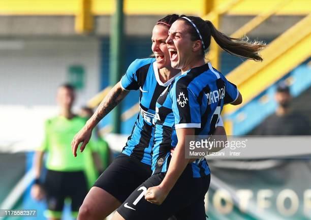 Gloria Marinelli of FC Internazionale celebrates her goal with her teammate Lisa Alborghetti during the Women Serie A match between FC Internazionale...