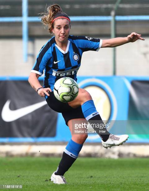 Gloria Marinelli of FC Internazionale in action during the Women Serie A match between FC Internazionale and Orobica at Campo Sportivo F Chinetti on...