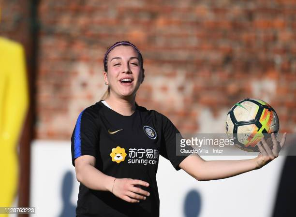 Gloria Marinelli of FC Internazionale Women in action during a training session at Suning Youth Development Centre in memory of Giacinto Facchetti on...