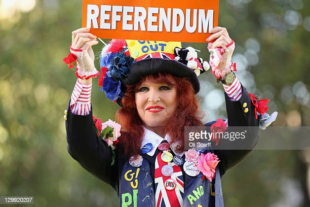 Gloria Martin campaigns for an EU referendum outside the Methodist Central Hall on October 22 2011 in London following a campaign meeting calling for...