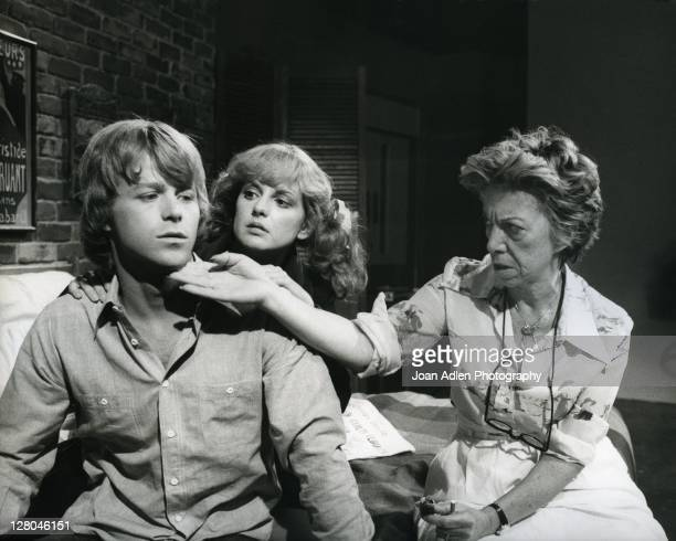 Gloria Monty with Jacklyn Zeman and Kin Shriner on the set of General Hospital at Sunset Gower Studios September 15 1980