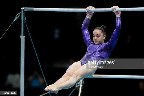 Gloria Philassides from Cyprus seen in action during the women qualifications of the 8th European Championships in Artistic Gymnastics