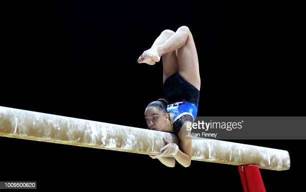 Gloria Philassides of Cyprus competes on the balance beam during Rotation 2 of the Team Women event qualification subdivision 1 during the Team Women...