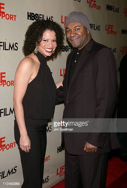 Gloria Reuben and Nelson George director during HBO's 'Life Support' New York Screening Outside Arrivals at Chelsea West Theaters in New York City...