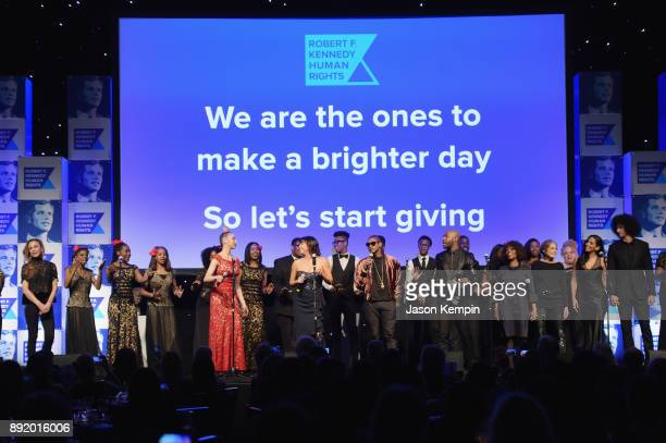 Gloria Reuben Usher Alfre Woodard Gloria Steinem Nessa and Colin Kaepernick perform onstage during Robert F Kennedy Human Rights Hosts Annual Ripple...