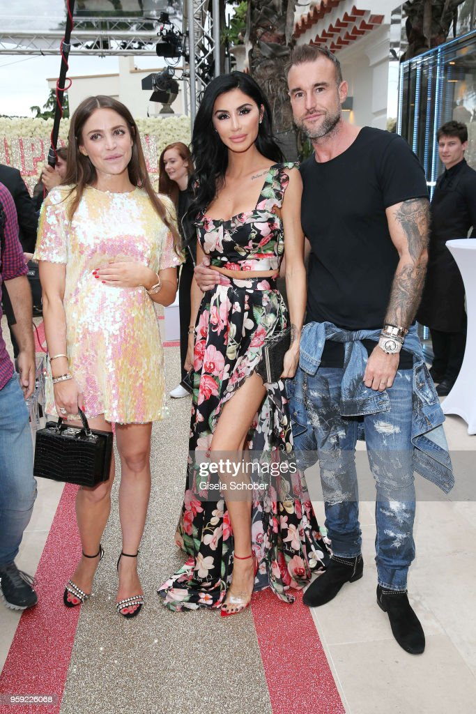 Gloria Sarah Dieth, Andreea Sasu and fashion designer Phillipp Plein ahead of his 'Dynasty' Women's & Men's Resort 2019 Fashion Show during the 71st annual Cannes Film Festival at on May 16, 2018 in Cannes, France.