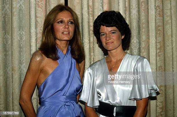 Gloria Steinem and astronaut Sally Ride are photographed at Steinem's 50th birthday celebration May 23 1984 in New York City