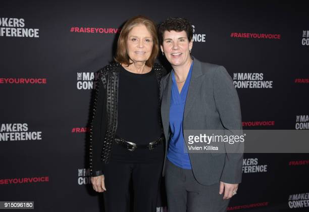 Gloria Steinem and Former US Marine Congressional Candidate in Kentucky Amy McGrath attend The 2018 MAKERS Conference at NeueHouse Hollywood on...