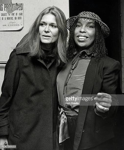 Gloria Steinem and Roberta Flack during Voters for Choice Benefit October 26 1981 at The Savoy in New York City New York United States