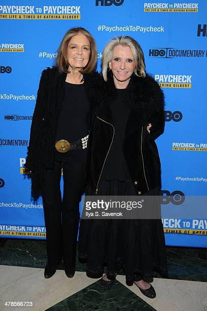 """Gloria Steinem and Sheila Nevins attend """"Paycheck To Paycheck: The Life And Times Of Katrina Gilbert"""" New York Premiere at HBO Theater on March 13,..."""