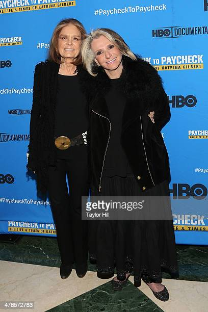 """Gloria Steinem and Sheila Nevins attend the """"Paycheck To Paycheck: The Life And Times Of Katrina Gilbert"""" premiere at HBO Theater on March 13, 2014..."""