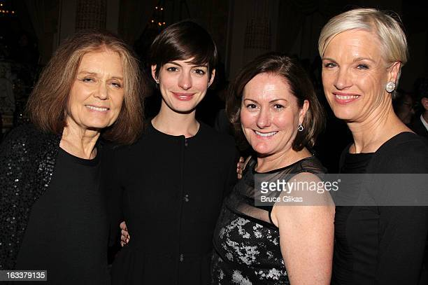 Gloria Steinem Anne Hathaway Kate McCauley Hathaway and Cecile Richards attend the after party for the opening night of Ann at The Plaza Hotel on...
