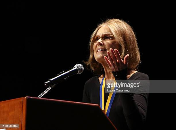 Gloria Steinem attends 2016 John Jay Medal for Justice Award at Gerald W Lynch Theater at John Jay College of Criminal Justice on March 3 2016 in New...