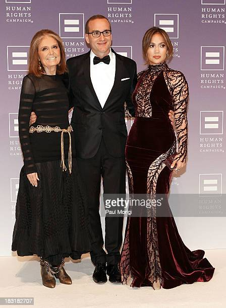 Gloria Steinem , Chad Griffin, President of the Human Rights Campaign, and Jennifer Lopez attend the 2013 HRC National Dinner at Washington...