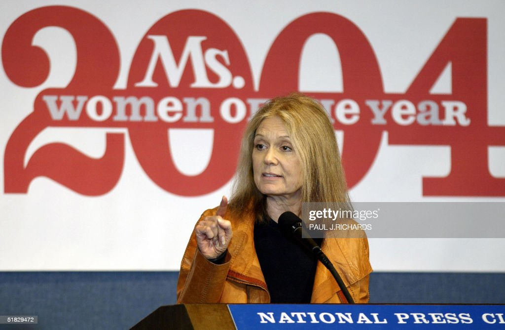 Gloria Steinem, Co-founding Editor of Ms. Magazine delivers remarks 06 December 2004 during an awards breakfast for the winners of the Ms. Magazine 2004 Woman of the Year at the National Press Club in ashington, DC . AFP Photo/Paul J. RICHARDS