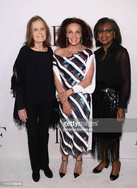 Gloria Steinem Diane von Furstenberg and Fran Lebowitz attend 10th Annual DVF Awards at Brooklyn Museum on April 11 2019 in New York City
