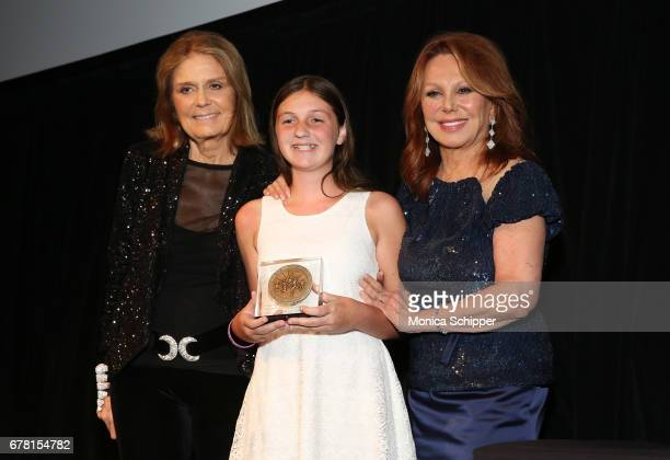 Gloria Steinem honoree Sydney Phillips and Marlo Thomas pose onstage at the Ms Foundation for Women 2017 Gloria Awards Gala After Party at Capitale...