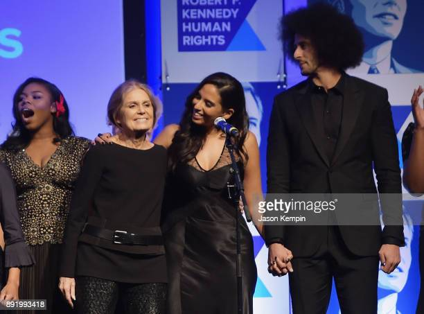 Gloria Steinem Nessa and Colin Kaepernick perform onstage during Robert F Kennedy Human Rights Hosts Annual Ripple Of Hope Awards Dinner on December...