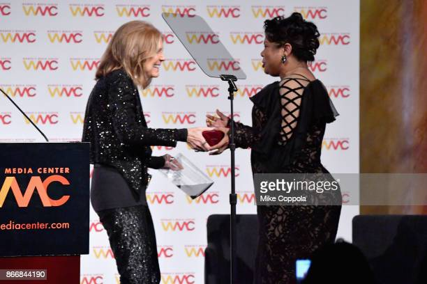 Gloria Steinem presents to Journalist April Ryan the WMC She Persisted Award onstage at the Women's Media Center 2017 Women's Media Awards at...