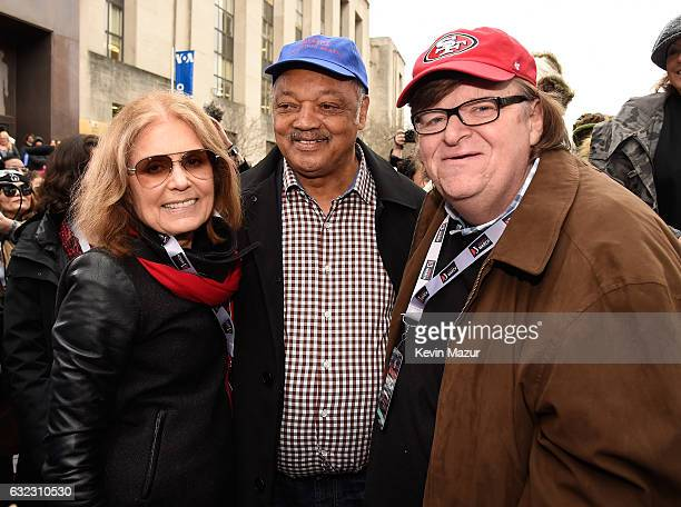 Gloria Steinem Rev Jesse Jackson and Michael Moore attend the rally at the Women's March on Washington on January 21 2017 in Washington DC