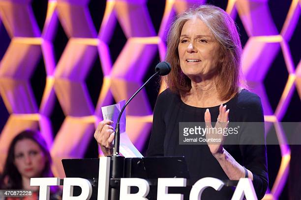 Gloria Steinem speaks onstage at TFF Awards Night during the 2015 Tribeca Film Festival at Spring Studio on April 23 2015 in New York City