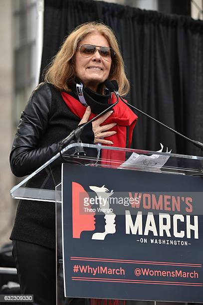 Gloria Steinem speaks onstage during the Women's March on Washington on January 21, 2017 in Washington, DC.