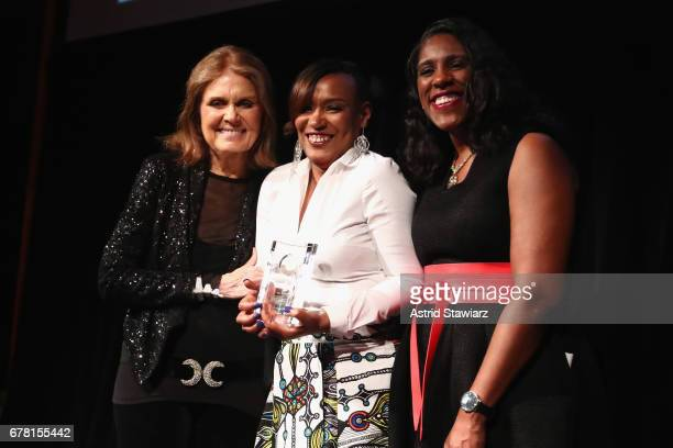 Gloria Steinem, Vivian Anderson, and Teresa C. Younger pose onstage at the Ms. Foundation for Women 2017 Gloria Awards Gala & After Party at Capitale...