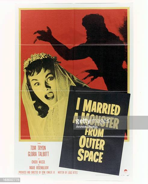 Gloria Talbott screams in movie art for the film 'I Married A Monster From Outer Space' 1958
