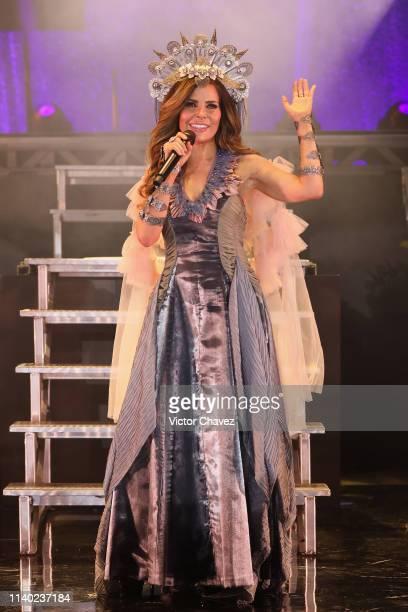 Gloria Trevi attends a press conference to promote her new tour La Diosa De La Noche at Expo Santa Fe on April 29 2019 in Mexico City Mexico