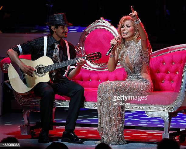 Gloria Trevi performs on the opening night of her El Amor World Tour at The Greek Theatre on August 21 2015 in Los Angeles California