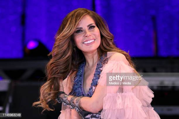 Gloria Trevi smiles during a press conference at Expo Santa Fe on April 29 2019 in Mexico City Mexico