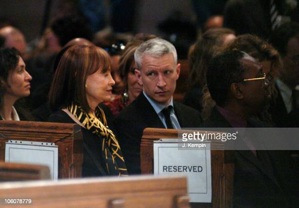 Gloria Vanderbilt and Anderson Cooper during Funeral Service For The Late Photographer Gordon Parks at The Riverside Church in New York City New York...