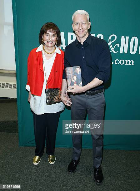 Gloria Vanderbilt and Anderson Cooper in conversation at Barnes Noble Union Square on April 7 2016 in New York City