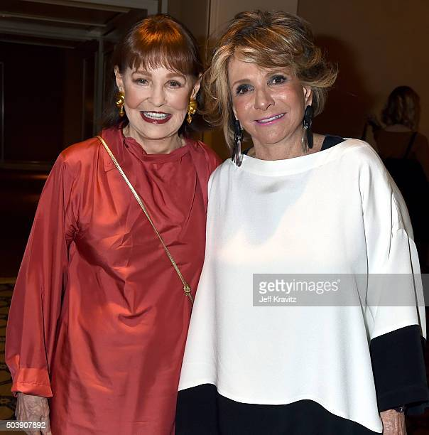 Gloria Vanderbilt and HBO Documentary Films President Sheila Nevins attend the HBO Winter 2016 TCA Panel at Langham Hotel on January 7, 2016 in...