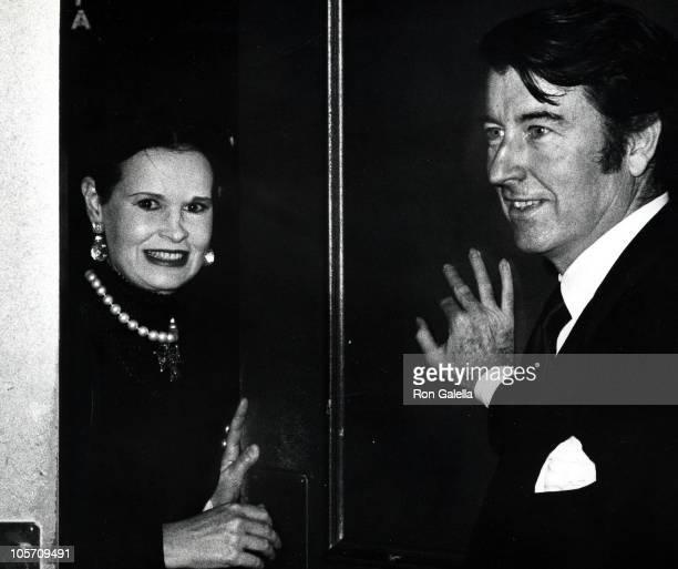 Gloria Vanderbilt and Husband Wyatt Cooper during Lorelei Opening January 27 1974 at Colony Restaurant in New York City New York United States