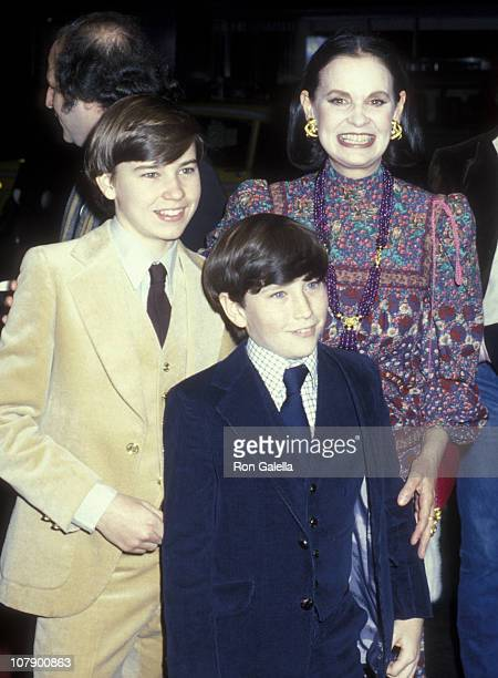 "Gloria Vanderbilt and sons Carter Cooper and Anderson Cooper attend the premiere of ""Manhattan"" on April 18, 1979 at the Ziegfeld Theater in New York..."