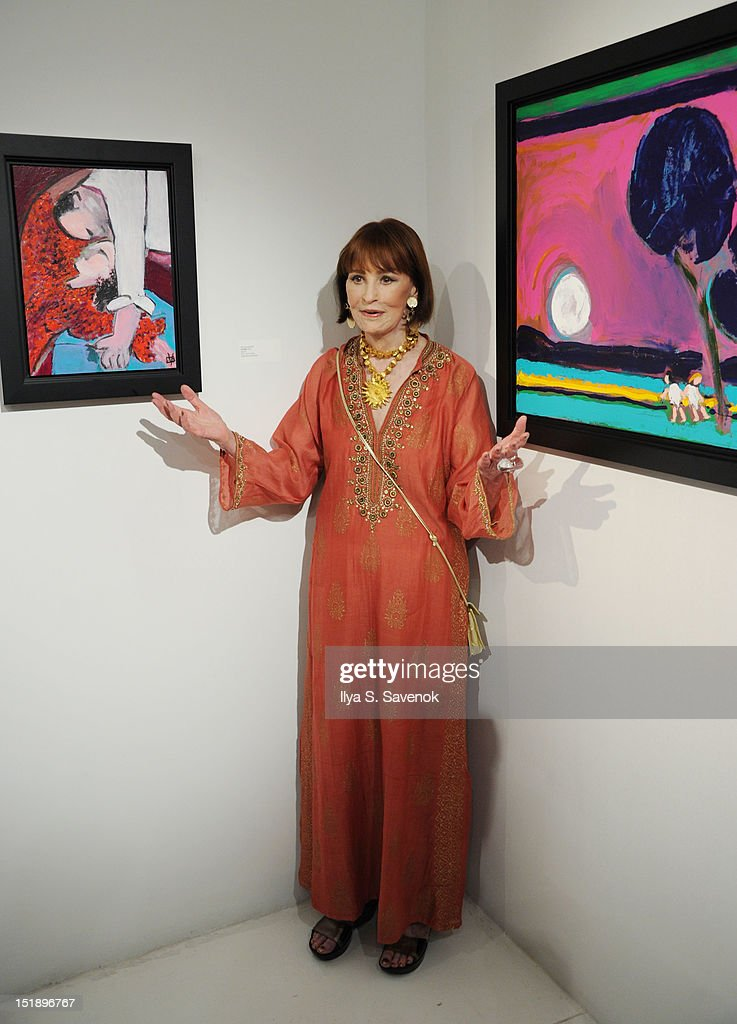 """""""The World Of Gloria Vanderbilt: Collages, Dream Boxes, And Recent Paintings"""" Exhibition Opening : News Photo"""