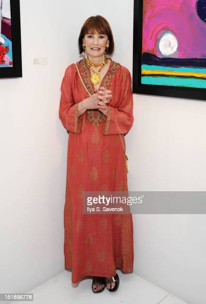 Gloria Vanderbilt attends the The World Of Gloria Vanderbilt Collages Dream Boxes And Recent Paintings Exhibition Opening at 1stdibs Gallery on...